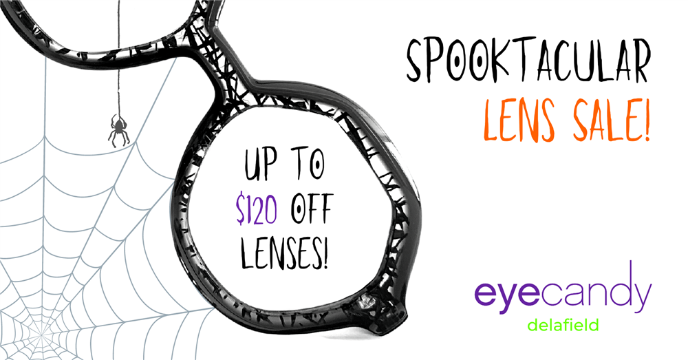 Blake Kuwahara glasses with spider in web - Spooktacular Lens Sale! Up to $120 OFF lenses! Eye Candy - Delafield