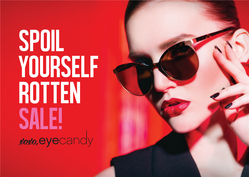 Spoil Yourself Rotten Sale!   xoxo, Eye Candy - sassy woman in sunglasses